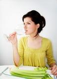Jonge vrouw op dieet Stock Foto's