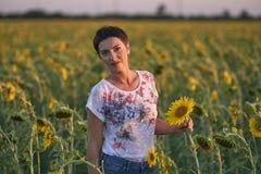 Jonge vrouw op een gebied van zonnebloemen bij zonsondergang stock afbeeldingen