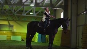 Jonge vrouw op een paard stock footage