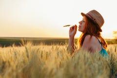 Jonge vrouw op het tarwegebied stock foto's