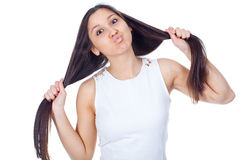 Jonge vrouw in positieve uitdrukkingen Royalty-vrije Stock Fotografie