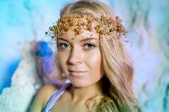 Jonge vrouw in prinseskleding op een achtergrond van een de winterfee Royalty-vrije Stock Afbeelding