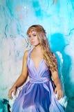 Jonge vrouw in prinseskleding op een achtergrond van een de winterfee Stock Foto