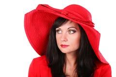 Jonge vrouw in rode hoed Royalty-vrije Stock Fotografie
