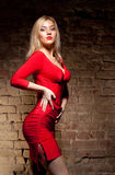 Jonge vrouw in rode kleding Stock Afbeelding