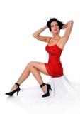 Jonge Vrouw in Rode Kleding stock foto
