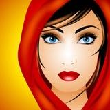 Jonge Vrouw in Rode Sjaal stock illustratie