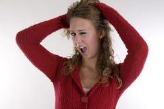 Jonge vrouw in rode sweater stock foto's