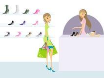 Jonge vrouw in schoenopslag stock illustratie