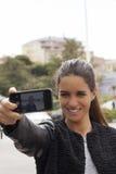 Jonge vrouw selfie Stock Afbeelding