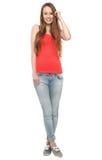 Jonge vrouw status Stock Foto