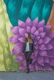 Jonge vrouw in stedelijk landschap - graffiti Stock Fotografie