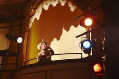 Jonge Vrouw in Theaterdoos royalty-vrije stock afbeeldingen