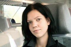 Jonge vrouw in trein 2 Royalty-vrije Stock Afbeelding