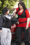 Jonge Vrouw twee die zich naast Auto bevindt Royalty-vrije Stock Fotografie