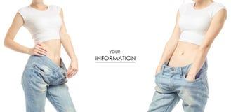 Jonge vrouw in van het het verliesgewicht van het jeansgewicht het verlies vastgesteld patroon stock afbeelding