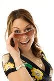 Jonge vrouw in zon glasse royalty-vrije stock foto's