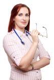 Jonge Vrouwelijke Arts met glazen Stock Afbeeldingen