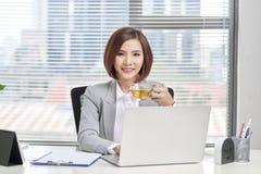 Jonge vrouwelijke bedrijfseigenaar bezig het werken bij bureau in bureau stock foto