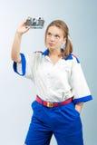 Jonge vrouwelijke blonde zeeman stock fotografie