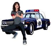 Jonge vrouwelijke politiedetective Stock Foto's
