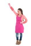 Jonge vrouwelijke reinigingsmachine met handschoenen en schort Royalty-vrije Stock Afbeeldingen