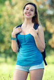Jonge Vrouwelijke Student bij Park stock foto's