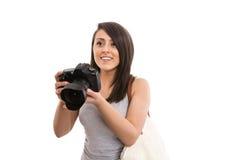 Jonge vrouwelijke toerist met camera Royalty-vrije Stock Foto's