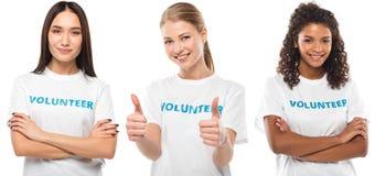 Jonge vrouwelijke vrijwilligers Stock Foto's