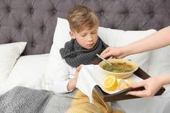 Jonge vrouwen brengende bouillon aan haar zieke zoon in bed royalty-vrije stock fotografie