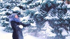 Jonge vrouwen die de winter van dag in openlucht genieten de droom van de sneeuwwinter Langzame Motie Gelukkig geluk stock footage