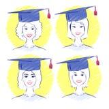 Jonge vrouwen die graduatie GLB dragen stock illustratie