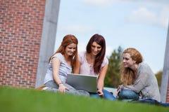 Jonge vrouwen die laptop met behulp van Royalty-vrije Stock Foto's