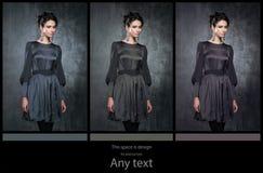 Jonge vrouwen in donkere retro kleding Royalty-vrije Stock Afbeelding