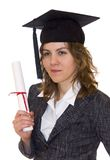 Jonge vrouwen met diploma Stock Afbeelding