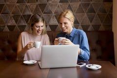 Jonge vrouwen met laptop in de koffie Royalty-vrije Stock Fotografie