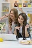 Jonge vrouwen met microfoons Royalty-vrije Stock Afbeelding
