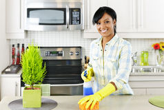 Jonge vrouwen schoonmakende keuken Royalty-vrije Stock Foto