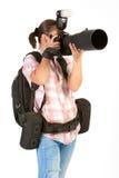 Jonge vrouwenfotograaf Royalty-vrije Stock Afbeeldingen