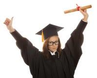 Jonge vrouwengraduatie Stock Foto