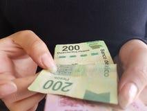 jonge vrouwenhanden die Mexicaanse rekeningen tellen Stock Foto's