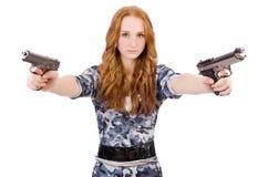 Jonge vrouwenmilitair met kanon Stock Foto's