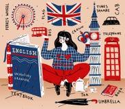 Jonge vrouwenstudente die het Engels leren Onderwijs, vreemde taal stock illustratie