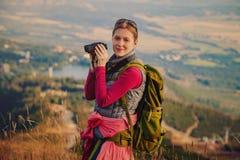Jonge vrouwentoerist Stock Foto