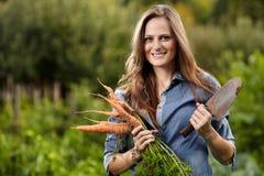 Jonge vrouwentuinman die een schoof van wortelen en een schoffel houden royalty-vrije stock afbeeldingen