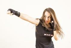 Jonge vrouwenvechter stock foto