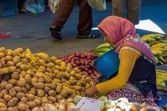 Jonge vrouwenverkoper in openbare markt royalty-vrije stock foto's