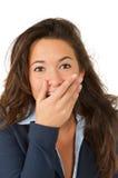 Jonge vrouwenverrassing, die op witte achtergrond wordt geïsoleerdr Royalty-vrije Stock Foto's