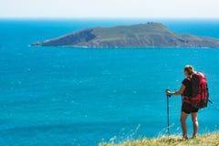 Jonge vrouwenwandelaar boven de overzeese baai Stock Afbeeldingen