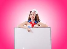 Jonge vrouwenzeeman in marien concept Stock Afbeelding